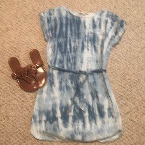 Loft Denim Chambray Tie waist dress Small